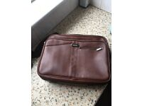Leather laptop briefcase with shoulder strap