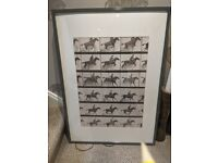 Ikea Grey Gloss Frame with Riders Wall Art