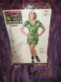 ARMY SOLDIER FANCY DRESS OUTFIT BY COMBAT CUTIE SIZE M /L GREAT FOR PARTY OR HEN DO