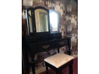 Black dressing table with mirror and stool £60.00 Ono