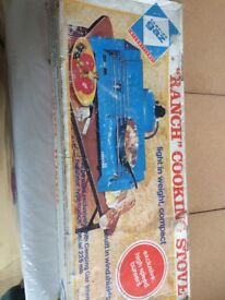Ranch cooking stove, two rings, works with camping gas bottle, brand new in box