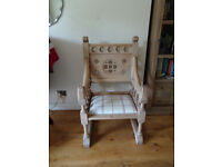 Antique pitched pine church chair