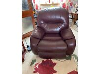 3 Piece Leather Suite with Electric Reclining Chair