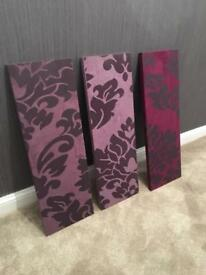 Purple floral canvas set