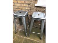 Tolix style bar stools - pair