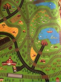 Roll up Play Mat- Village/Train track scene