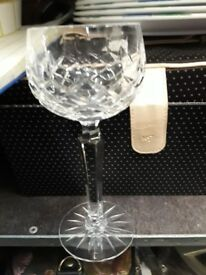 Single cut glass wine glass drink.
