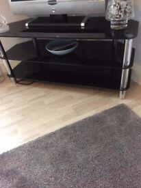 Black glass and chrome corner unit / tv unit