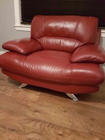 Red leather suite (3 seater, chair and footstool)