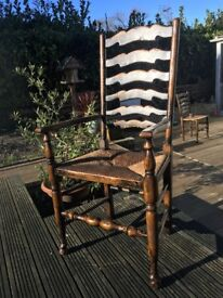 Titchmarsh and Goodwin Vintage Solid Oak Carver Chair (selling 6 chairs separately)