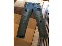Men's ASOS Skinny Stretch Medium Blue Jeans with Fading, Rip and Repair and Destroyed Detailing 34R
