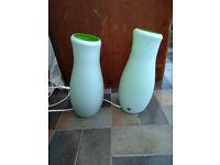 Two green glass Ikea lamps