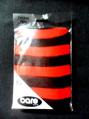 NEU Damen Halloween Kostüm rot schwarz gestreifte Strumpfhosen Party ()