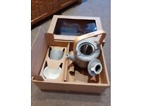 Cha and Co small grey teapot with diffuser and two cups, brand new in box