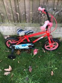 "CARS 12"" BIKE WITH REMOVABLE STABILISERS, age 2 to 4 yrs"