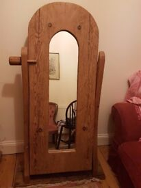 Bespoke antique pine free standing mirror