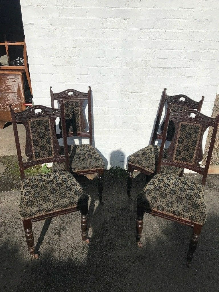 Vintage Victorian carved shabby chic dining chairs