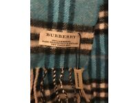 BURBERRY Blue Wool Nova Check Scarf