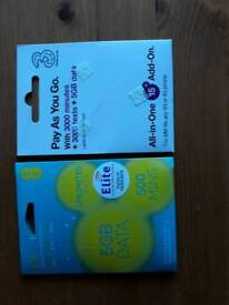 2 pay as you go SIM cards for sale
