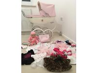 Silver cross dolls pram and Baby Annabell, Clothes Bundle