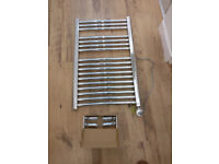 Electric chrome towel rail 800 x 500 with 300W element fitted