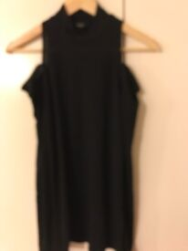 Ladies Size 10 NEXT Black Top - High Neckline With Exposed Shoulders
