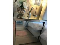 2x mirrored chest of drawers