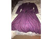 Vintage dress in purple print size 16
