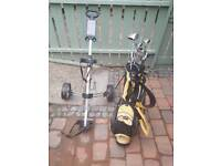 Golf clubs, bag, trolley, balls and tees