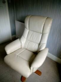 Excellent quality cream leather chair. Only used a few times.