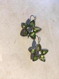 Sterling silver peridot earrings and matching necklace