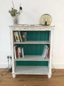 Up-cycled white and green bookcase