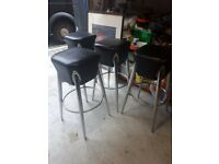 2 x retro leather and stainless steel bar stools