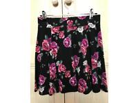 Ladies H&M Black Floral Skater Skirt Black - Small