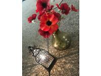 Lamp and poppy flower vase
