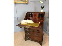 Small Mahogany Bureau Leather Top Writing Desk Georgian Reproduction Antique Style