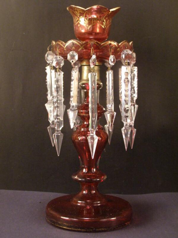 Antique 19c Moser Cranberry Glass Crystal Prism Mantle Luster CandleStick Holder