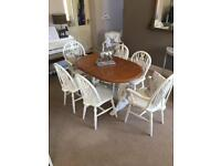 Shabby chick table and 6 chairs