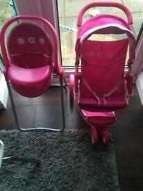 Kids pushchair and highchair with accessories