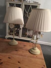 *** pair of shabby chic style lamps ***