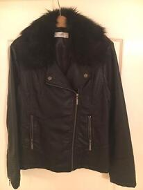 Ladies black leather look jacket size 14-16
