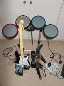 XBox 360 Rock band guitar & drum kit