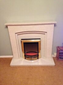 """46"""" Rossano FirePlace & Hearth in Manila Micro Marble"""