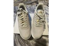 Nike Air Force 1 grey suede and gold size 6