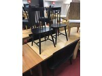 Luna Extendable Table and 2 Black Benches + 2 Black chairs