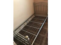 Two Single Metal Bed Frame (Silver)