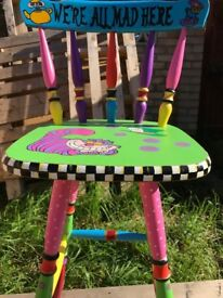 Hand Painted Farmhouse Barstool! Shabby Chic! Whimsical!