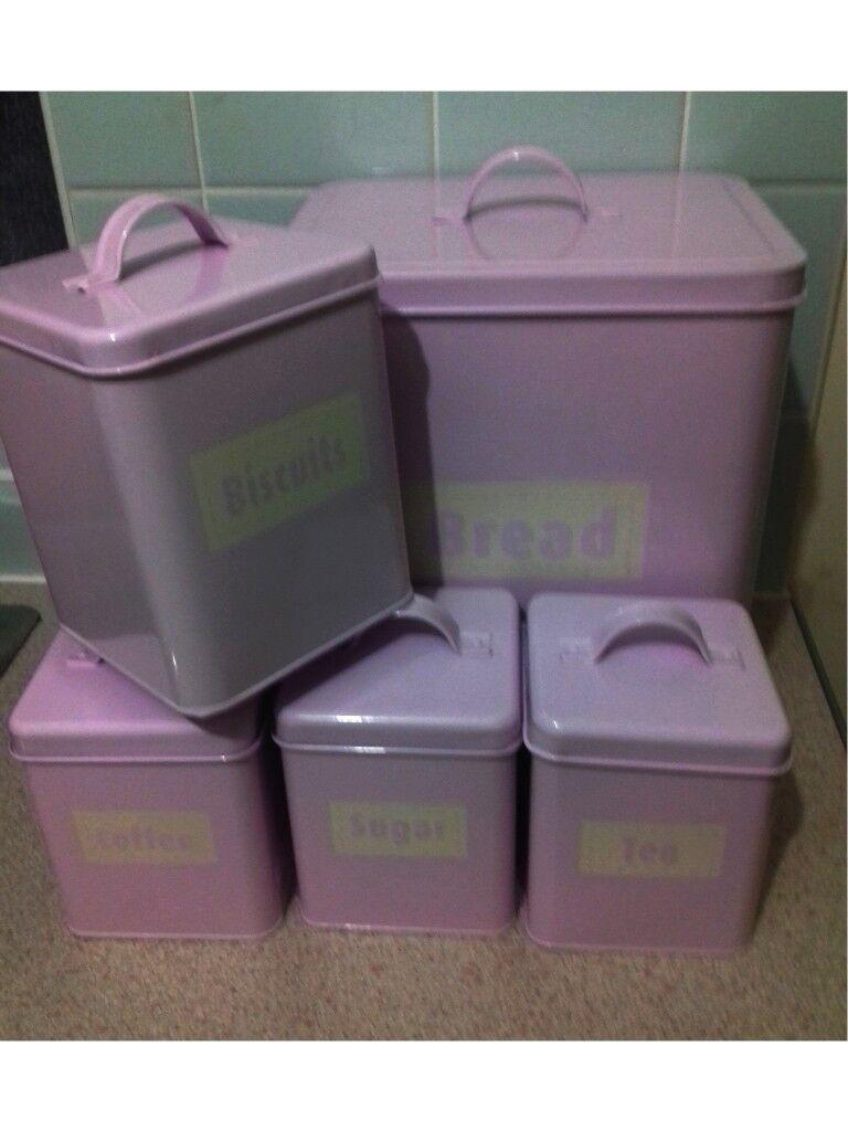 5 Piece Set Pale Pink Tins Canisters Set Bread Bin Biscuit Tin Tea Coffee Sugar In Ipswich Suffolk Gumtree