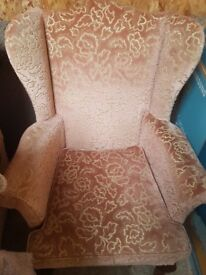 Two wing back chairs and 1 chair matching upolstry
