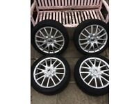 """17"""" Classix alloy wheels of a golf mark5 with tyres in great condition"""